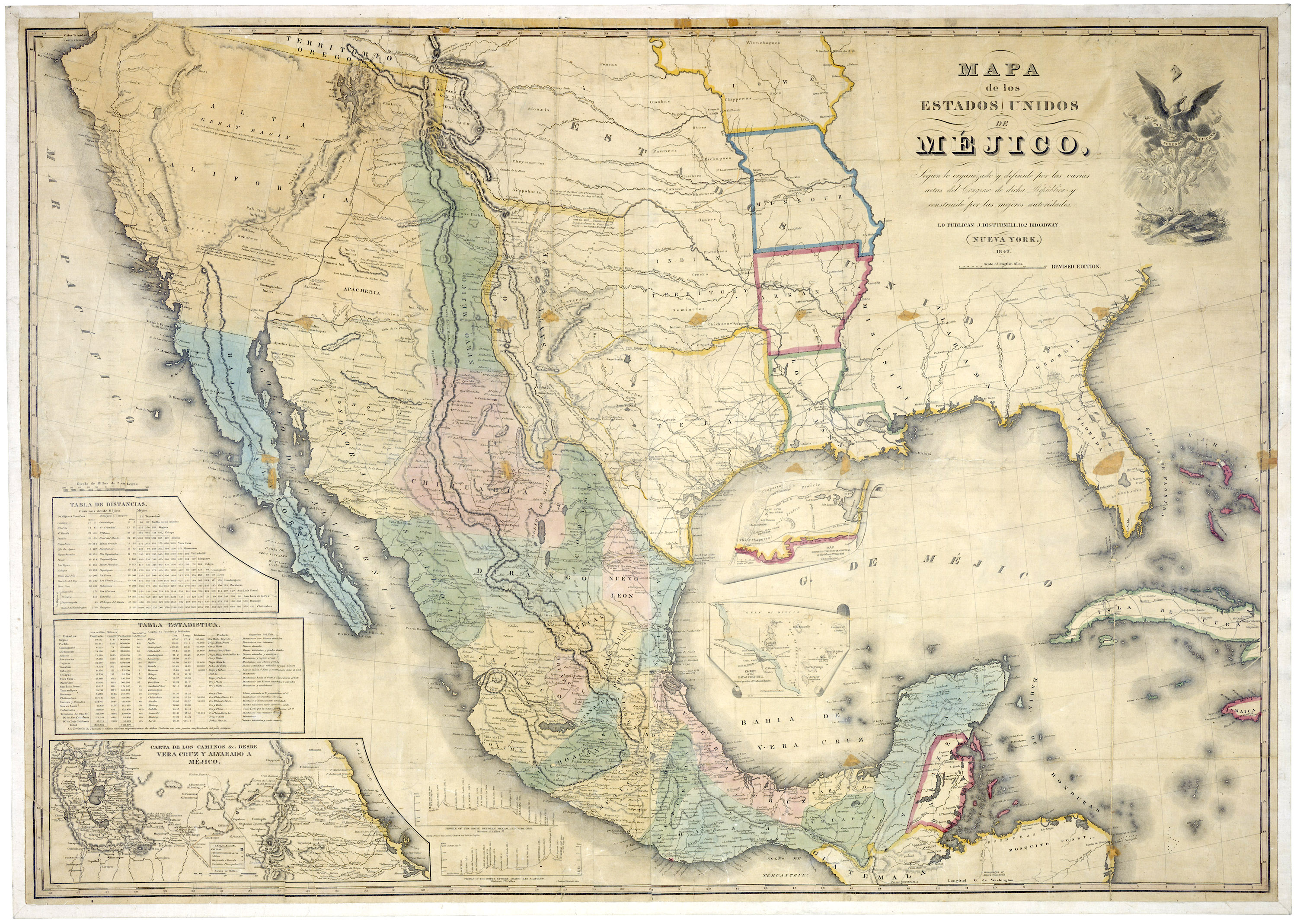 Map Of The United States Of Mexico C 1847 Ncpedia