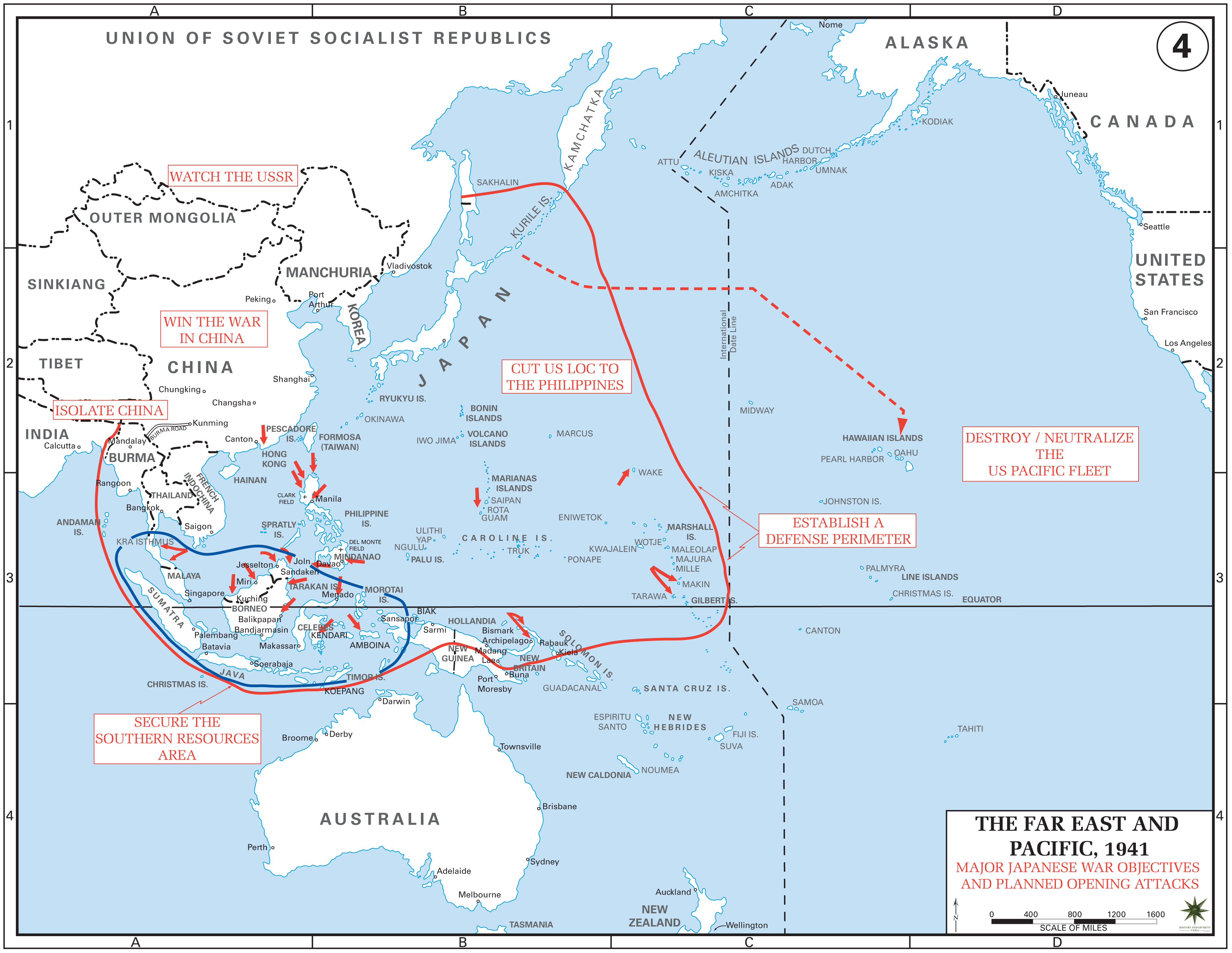 Japanese war objectives and planned opening attacks in World War II ...