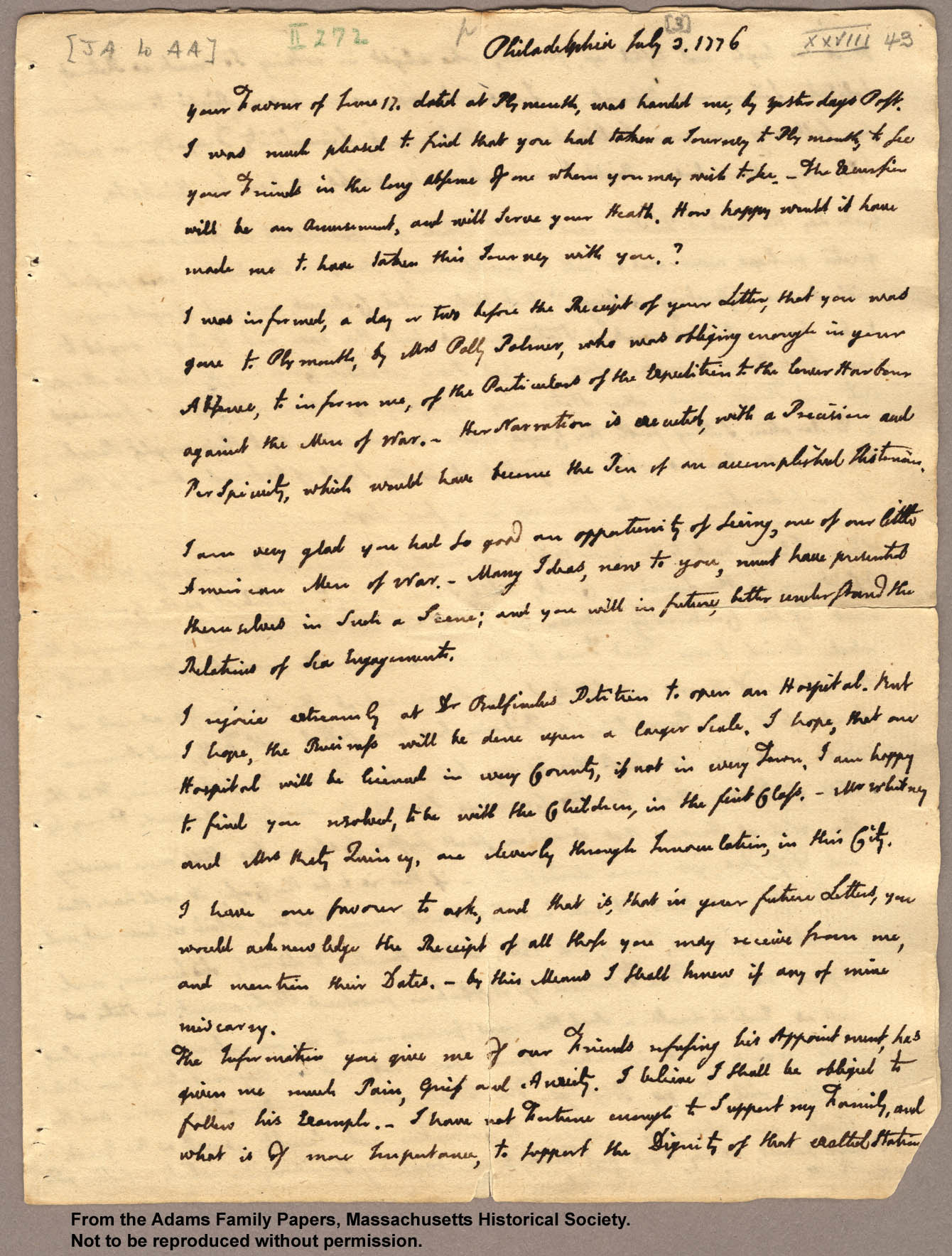 Letter from John Adams to Abigail Adams, 3 July 1776 (page 1