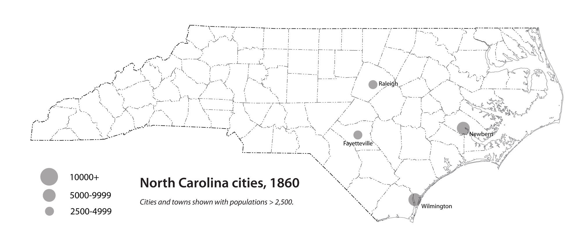 North Carolina cities, 1860 | NCpedia