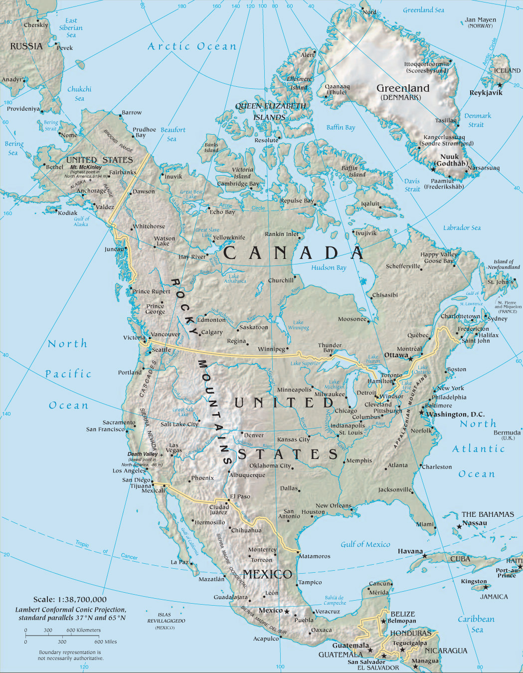 North america map with latitude