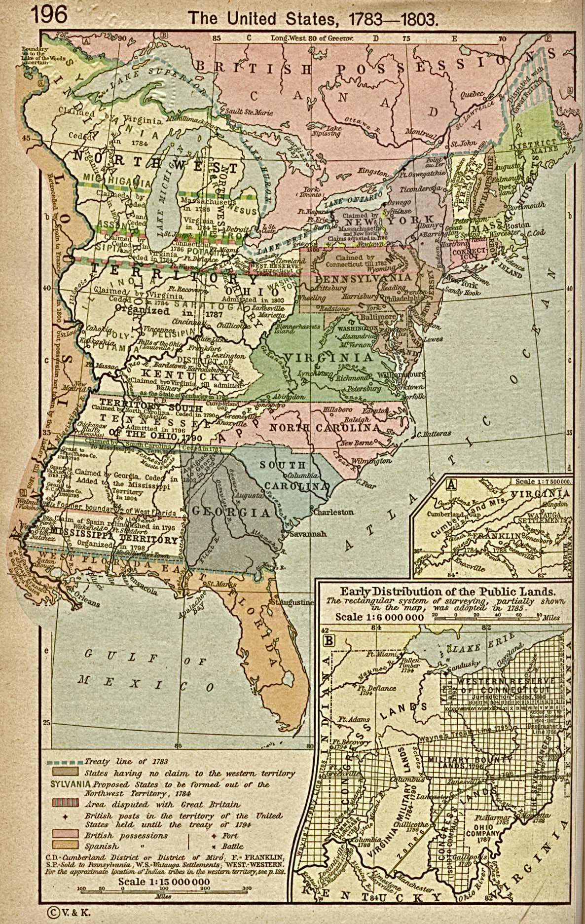 Map of the United States, 1783–1803, showing the State of Franklin ...