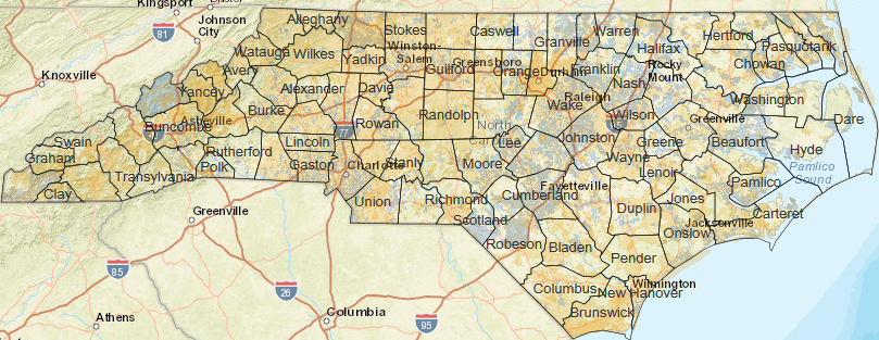Help Us Map Broadband Access Across North Carolina Library - A map of north carolina